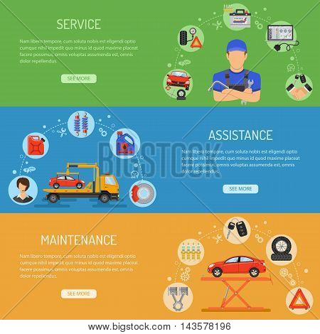 Car Service Horizontal Banners with Flat Icons like Laptop, Spark Plug and Mechanic. Vector illustration.