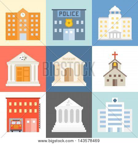 Vector public building icons set, flat design