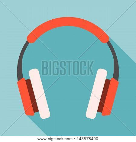 Vector headphone, flat design with long shadow