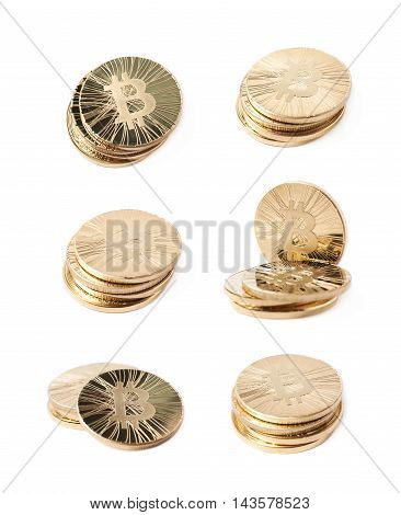 Pile of golden bitcoin currency tokens isolated over the white background, set of six different foreshortenings