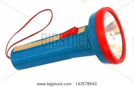 Colorful pocket flashlight isolated on white background