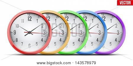 Set of Office Wall Clock for business and financial design. Symbol of time. Editable Vector illustration Isolated on white background.