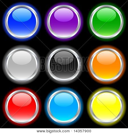 Beautiful buttons on dark. Vector illustration.