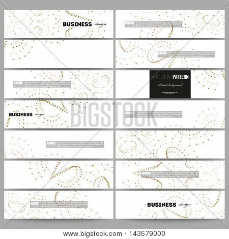 Set of modern vector banners. Abstract polygonal low poly backdrop with connecting dots and lines, golden connection structure on white background. Digital or science vector