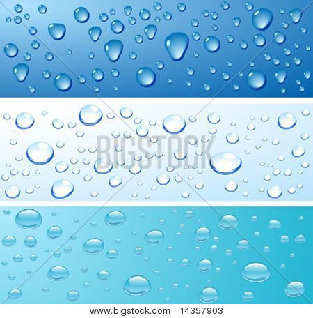 Three wet surfaces. Vector illustration.