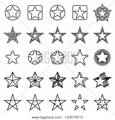 Five-pointed star icons. Collection of 25 linear star symbols isolated on a white background. Vector illustration