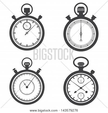 Stopwatches and chronometer icons isolated on a white background. Vector illustration