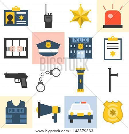 Vector police icons set, flat design on white background