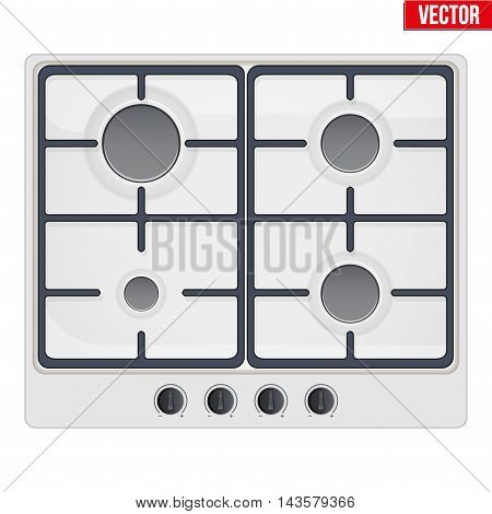 Surface of white gas hob. Top view of stove. Domestic equipment. Editable Vector illustration Isolated on white background.