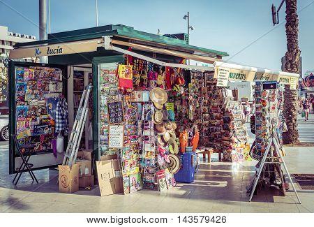 Alicante, Spain - SEPTEMBER 2015: souvenir shop on the square
