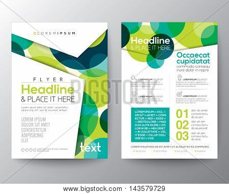 Abstract colorful green circles background for Poster Brochure Flyer design Layout vector template in A4 size