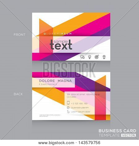 Business cards Design Template with abstract colorful banding shape background