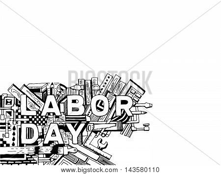 Cartoon hand drawing vector graphics Labor day background