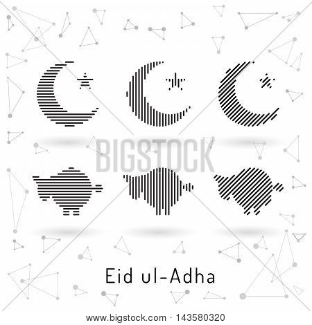Beautiful abstract design element of the Islamic culture of the Crescent with the star drawn for for muslim community festival Eid ul Adha.