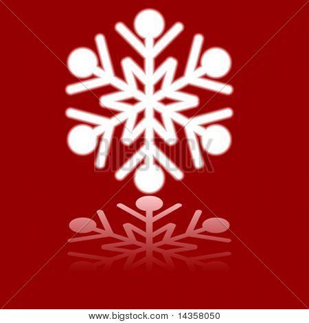 Luminous snowflake on red. Vector illustration.