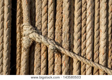 Natural rope made of fibre as background with knot in foreground.