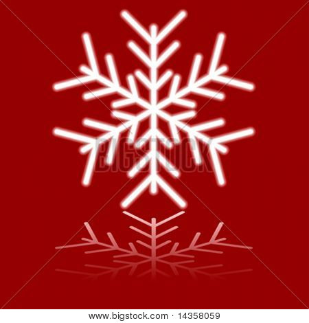 Luminous snowflake on red. Vector illustration.