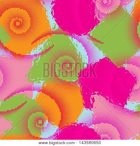 Abstract grunge seamless chaotic pattern with geometric blots drops and halftone spirals. Trendy colorful texture background. Modern wallpaper. Fashionable print.