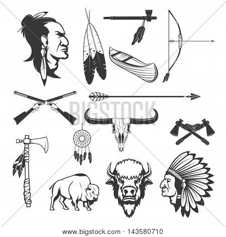 Indian icons. Native americans. American indians weapon. Vector illustration.