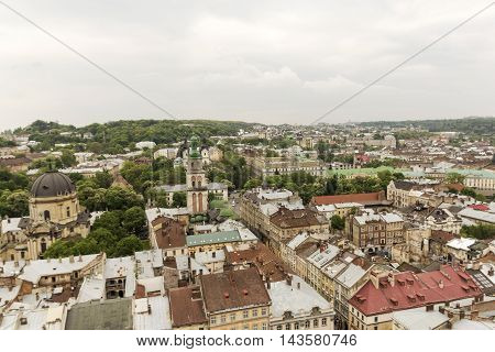 Old Buildings In The Center Of Lviv. Top View