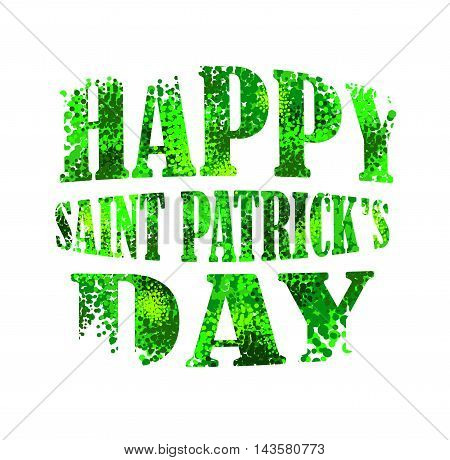 Happy Saint Patrick's day lettering from green bubbles and dots vector postcard