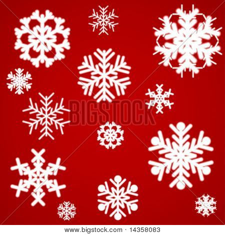 Luminous snowflakes on red. Vector illustration.
