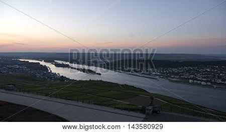 Vineyards And River Rhine Ruedesheim Germany At Dawn