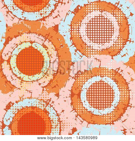 Abstract grunge seamless chaotic pattern with wheels blots drops and circular splashes. Trendy colorful texture background. Modern wallpaper. Fashionable print.