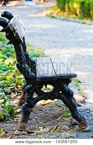 An old bench under the trees surrounded by fallen leaves