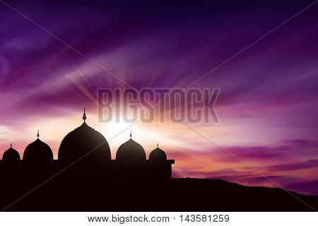 Silhouette Mosque Picture And Twilight Background