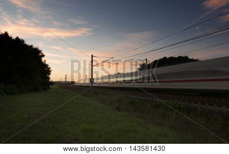 Highspeed Train At Dusk