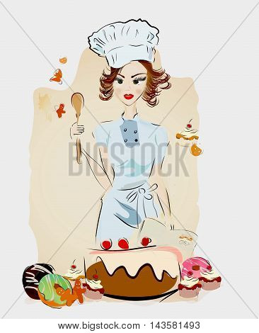 Chef Woman with Desserts and Authentic Recipe Book and Sweets