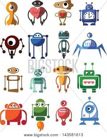 Set of 16 cute small vector robots