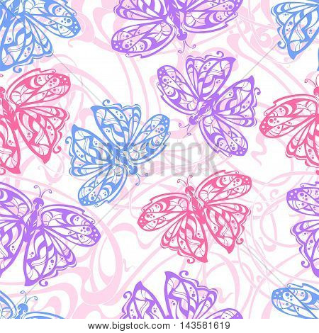 seamless pattern of flit butterflies in the traditional color for girls -blue lilac pink