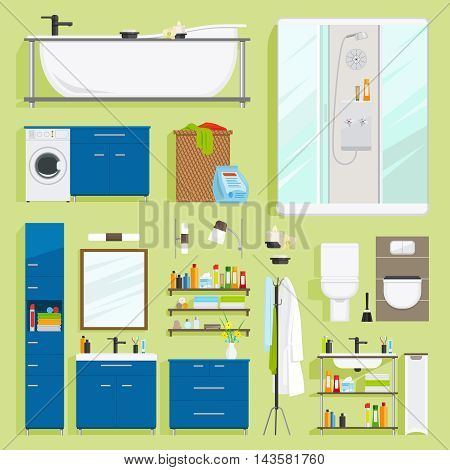 Bathroom equipment vector. Bath with shower, sink and toilet icons