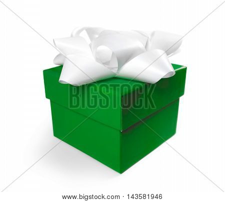 Green gift box with white bow. Birthday present, isolated on white background.