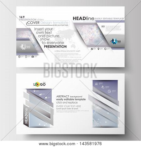 Business templates in HD format for presentation slides. Easy editable abstract layouts in flat design. Molecule structure on blue background. Science healthcare background, medical vector.