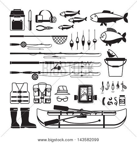 Fishing vector black icons. Tackle and bait, bobber and fisherman clothing