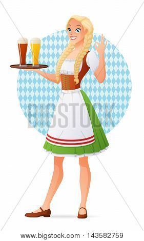 Beautiful blond young woman in traditional Bavarian outfit holding tray with glasses of light and dark beer. Cartoon vector illustration isolated on white background.