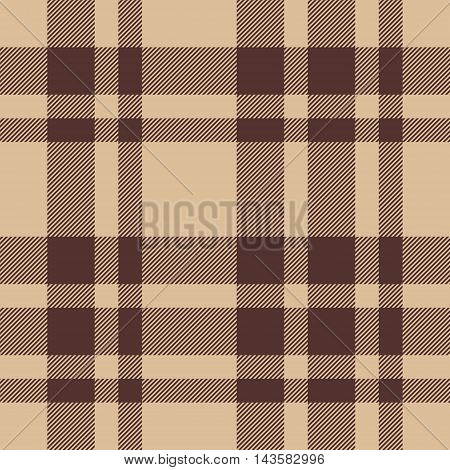 Beige brown check plaid seamless pattern. Vector illustration. EPS10.