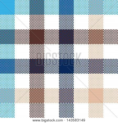 Blue beige check plaid seamless fabric texture. Vector illustration.