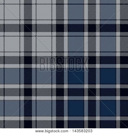 Blue check plaid seamless pattern. Vector illustration. EPS10.