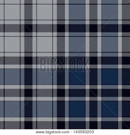 Blue check plaid seamless pattern. Vector illustration. EPS10.