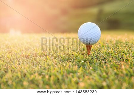 Golf ball on a tee against the golf course with copy space