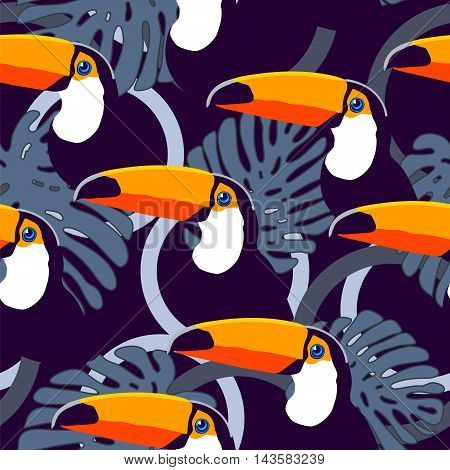 Seamless exotic tropical vector pattern with toucans circles and leaves