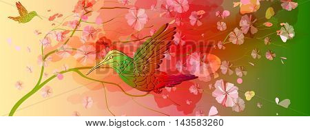Beautiful bright floral horizontal background with hummingbird