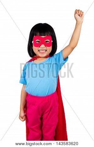 Asian Little Chinese Girl Wearing Super Hero Costume