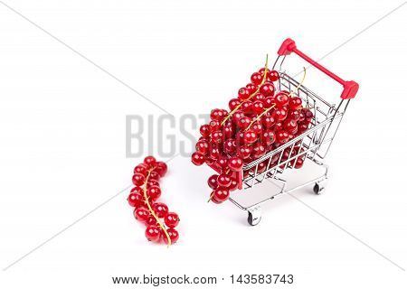 Bunch Of Red Currants In A Shopping Cart On A White Background.