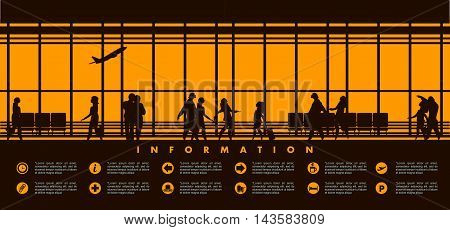 vector illustration of the airport building waiting room large picture window silhouettes of people information board with text icons