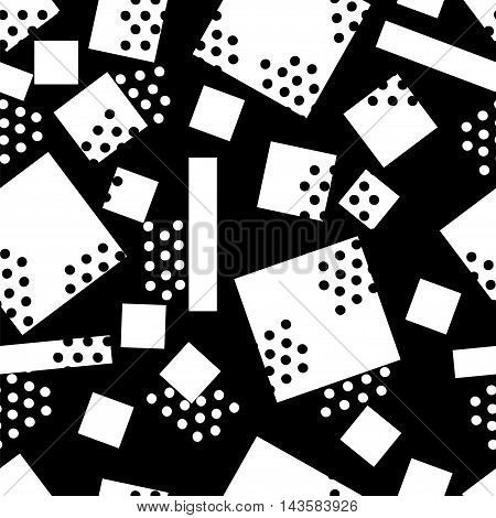 randomly seamless pattern of circles and squares. White vector elements on a black background.